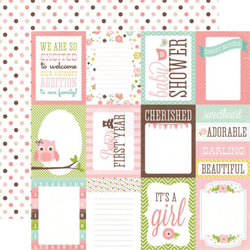 "Echo Park Bundle Of Joy Girl Double-Sided Cardstock 12x12"" - Girl Journaling Cards"