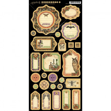 "Graphic 45 Rare Oddities Chipboard Die-Cuts 6x12"" Sheet - Journaling"