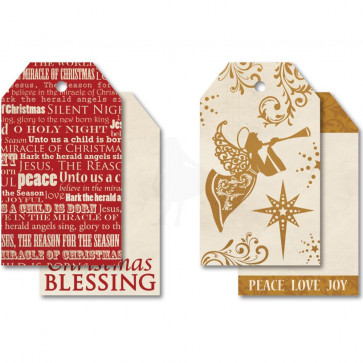 """KaiserCraft Holy Night Tag Pack 2x3.25"""" 2 Double-Sided Designs With String"""