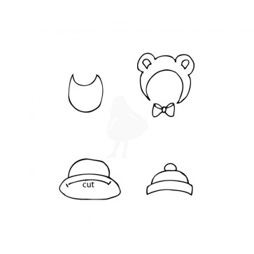 Prima Marketing Julie Nutting Mixed Media Cling Rubber Stamps - Baby Hat & Bib Set 2.5x3.5""