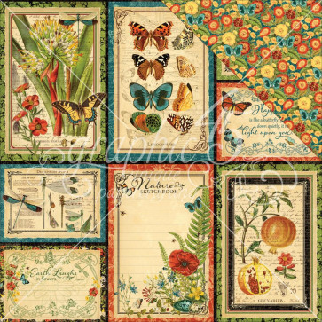 """Graphic 45 Nature Sketchbook Double-Sided Cardstock 12x12"""" - Beautiful World"""