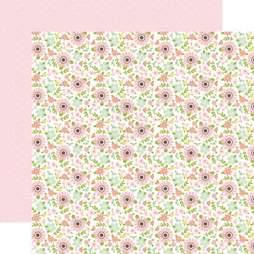 "Echo Park Sweet Baby Girl Double-Sided Cardstock 12x12"" Pink & Green Flowers/White Dots On Pink"