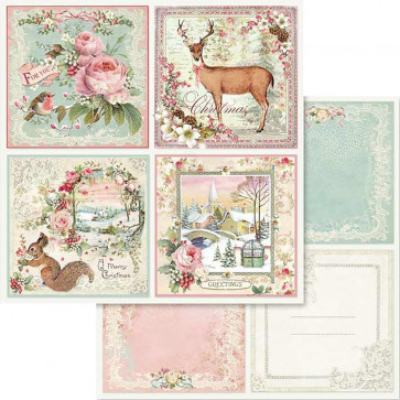 """Stamperia Double-Sided Cardstock 12x12"""" Pink Christmas Cards"""