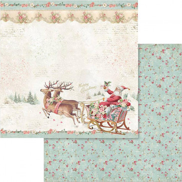 "Stamperia Double-Sided Cardstock 12x12"" Pink Christmas Santa Claus W/Sledge"