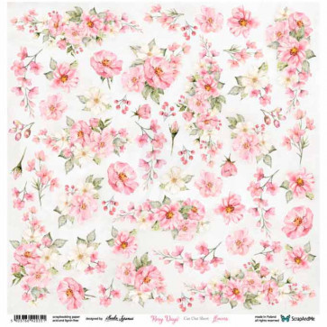 "ScrapAndMe Paper Ark 12x12"" Rosy Days Flowers Cut Out Sheet"