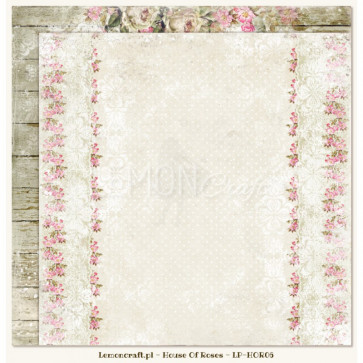 """LemonCraft Double Sided 12x12"""" Scrapbooking Paper - House Of Roses 06"""