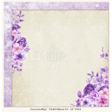 """LemonCraft Double Sided 12x12"""" Scrapbooking Paper - Violet Silence 04"""