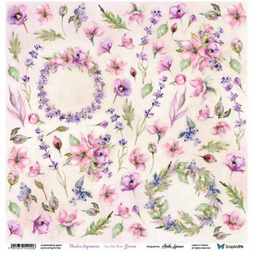 """ScrapAndMe Paper Ark 12x12"""" Meadow Impressions Flowers Cut Out Sheet"""