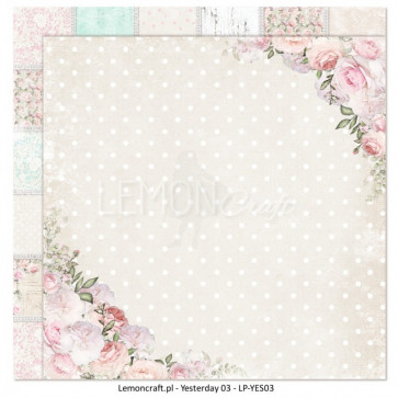 """LemonCraft Double Sided 12x12"""" Scrapbooking Paper - Yesterday 03"""