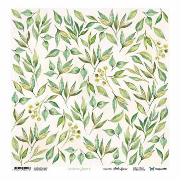 "ScrapAndMe Paper Ark 12x12"" Meadow Impressions Leaves 2 Cut Out Sheet"
