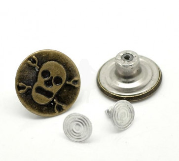 Beyond Visions Metal Pynt - Skull Jean Tack Buttons 1 STK