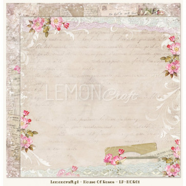 """LemonCraft Double Sided 12x12"""" Scrapbooking Paper - House Of Roses 01"""