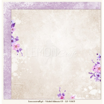"""LemonCraft Double Sided 12x12"""" Scrapbooking Paper - Violet Silence 02"""