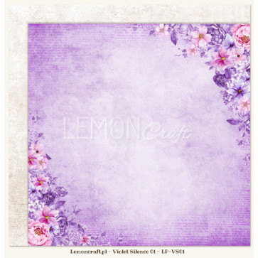 "LemonCraft Double Sided 12x12"" Scrapbooking Paper - Violet Silence 01"