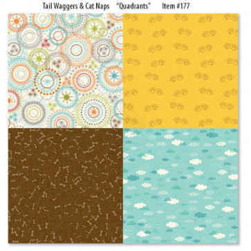 "Bella Blvd Tail Waggers & Cat Naps Dobbeltsidet Cardstock 12x12"" - Quadrants"