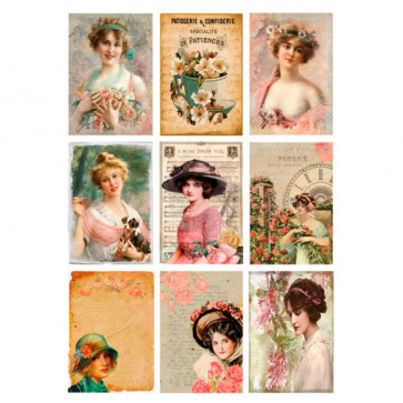 Reprint A4 Klippeark 200gr Women and Flower