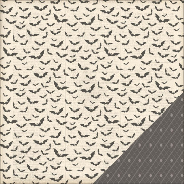 "American Crafts Haunted Hollow Dobbeltsidet Cardstock 12x12"" - Bat Cave"