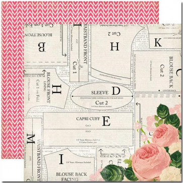 """Carta Bella Sew Lovely Double-Sided Cardstock 12x12"""" - Beautiful Blouse"""