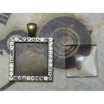 LaBlanche Metal Frame with Strass and Glass Fitting - Firkantet