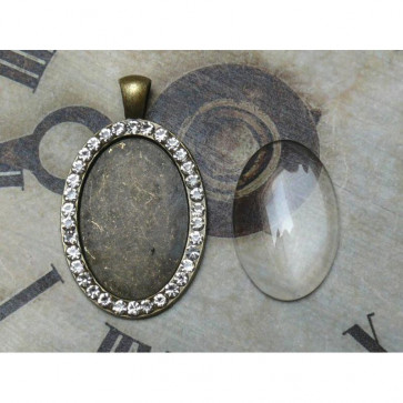 LaBlanche Metal Frame with Strass and Glass Fitting - Oval