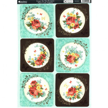 A4 Kanban Paper Craft Toppers - Forget Me Not Bouquet