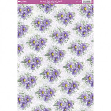 Kanban A4 Background Card - Asters & Baby's Breath Swirls