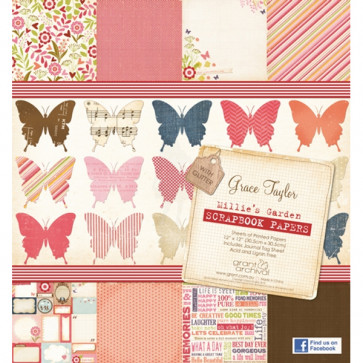 """Grace Taylor 12x12"""" Printed Paper Pad - Millie's Garden"""