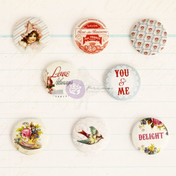 "Prima Marketing Delight Flair Buttons 1"" 8/Pkg"