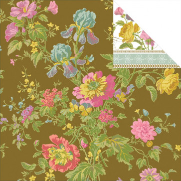 "Anna Griffin Olivia Double-Sided Cardstock 12x12"" - Iris Floral/Brown"