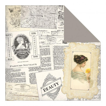 "Authentique Beauty Double-Sided Cardstock 12x12"" - Newspaper Collage/Beauty Frames"