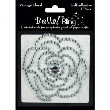 Ruby Rock-It Bling Self-Adhesive Rhinestone Vintage Floral - Clear