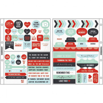 "KaiserCraft Captured Moments Pocket Stickers 6,75x8,5"" - Christmas Cheer; Red, Blue, Mint & Black"