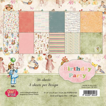 "Craft & You Design Dobbeltsidet Paper Pad 6x6"" Birthday Party TASTER"