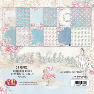 "Craft & You Design Dobbeltsidet Paper Pad 6x6"" Pastel Wedding TASTER"