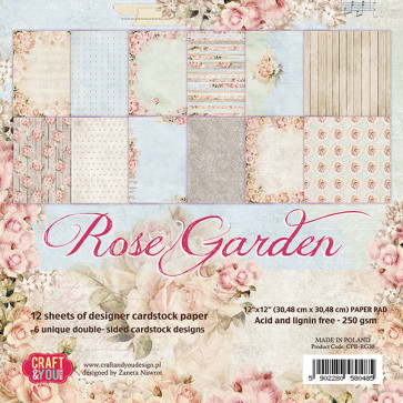 "Craft & You Design Rose Garden Enkeltsidet Paper Pad 6x6"" TASTER"