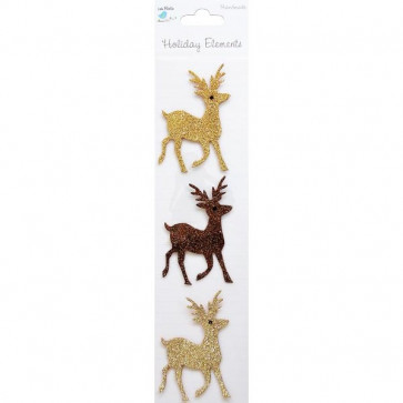 Little Birdie 3D Glitter Reindeers Holiday Elements