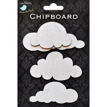 Little Birdie Chipboard Clouds 4pcs