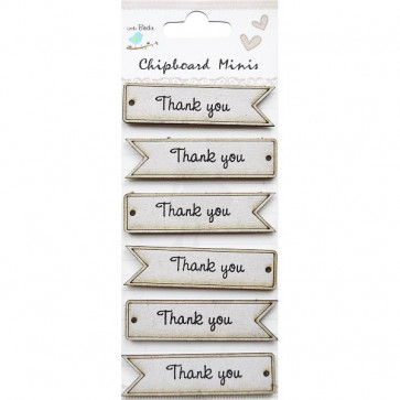 Little Birdie Thank You Words 6pc Chipboard