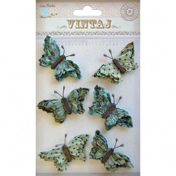 Little Birdie Beaded Butterflies Rustic Teal 6pcs Vintaj