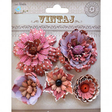 Little Birdie Donatella Flowers Rustic Blush 5pcs Vintaj