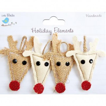 Little Birdie Burlap & Canvas Puffy Reindeer Natural Holiday Elements