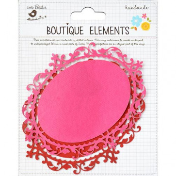 Little Birdie Laser Cut Oval Panels Cerise Pink 2pcs