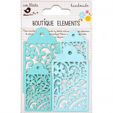 Little Birdie Laser Cut Tags Jamaican Sea 4pcs Boutique Elements