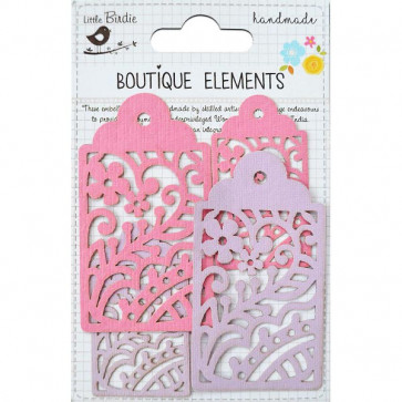 Little Birdie Laser Cut Tags Mulberry Blush 4pcs Boutique Elements