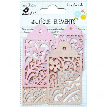 Little Birdie Laser Cut Tags Raspberry Ice 4pcs Boutique Elements