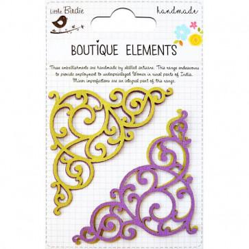 Little Birdie Laser Cut Flourishes Aubergine 4pcs Boutique