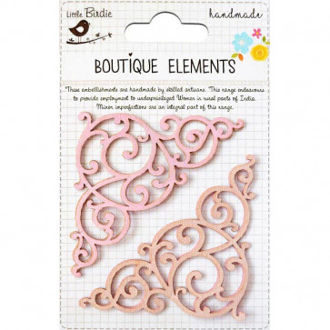 Little Birdie Laser Cut Flourishes Respberry Ice 4pcs Boutique