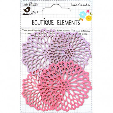 Little Birdie Laser Cut Starbursts Mulberry Blush 4pcs Boutique