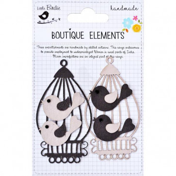 Little Birdie Laser Cut Birds & Cages Clay Caramel 4pcs Boutique