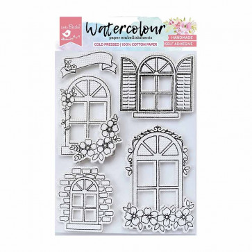 Little Birdie WaterColour Embellishment Self Adhesive - Arch Windows 5Pc